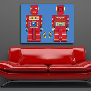 Pop Art Red Sparking Robot Canvas Print - modern & abstract