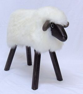 Ivory Fleece Lamb Seat / Footstool