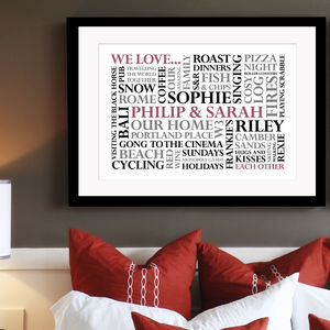 Personalised 'We Love' Word Art Print - gifts for families