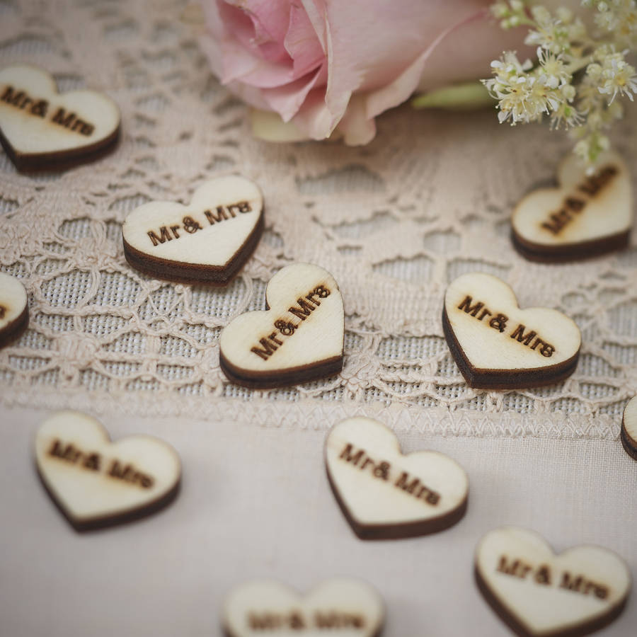 Vintage Mr And Mrs Wooden Heart Wedding Table Confetti