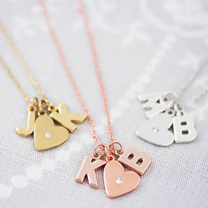 Double Chunky Letter Heart Necklace - winter sale
