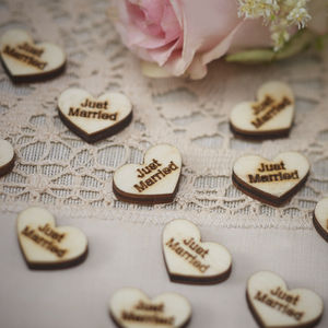 Vintage Just Married Wooden Heart Table Confetti - confetti, petals & sparklers