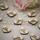 Vintage Just Married Wooden Heart Table Confetti