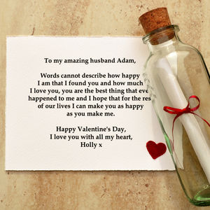 Valentines Day Gift 'Message In A Bottle'