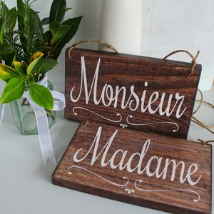 Monsieur And Madame Handmade Wedding Signs - room decorations