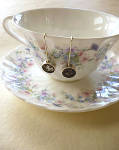Handmade Silver Tea Earrings - earrings