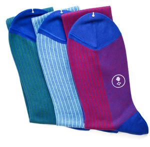 Men's Set Of Three Over The Calf Pinstripe Socks