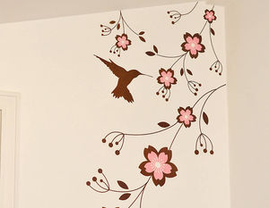 Hummingbird And Flowers Wall Sticker