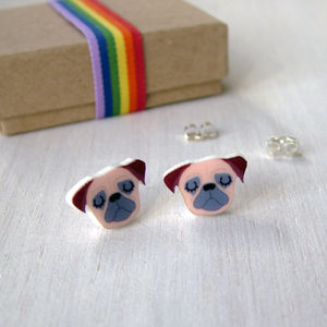 Pug Stud Illustrated Acrylic Earrings - earrings