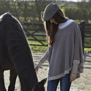 50% Off Reversible Colour Block Poncho - keeping cosy