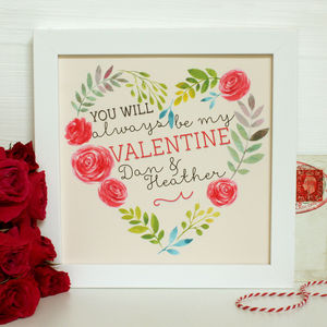 Personalised Always My Valentine Framed Print - posters & prints
