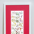 Personalised 'Fairy Alphabet' Print Red Mount