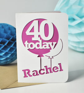 Paper Cut Age Balloon Card - birthday cards