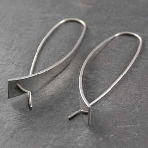 Elliptical Drop Sterling Silver Earrings
