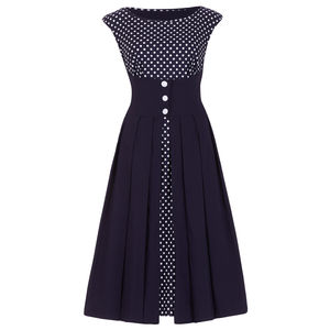Dollydagger Lulu Polka Dot Button Front Dress - dresses