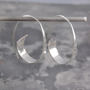Curl Sterling Silver Ribbon Hoop Earrings - gifts for her