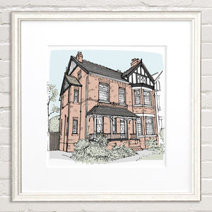 Colour House Portrait - drawings & illustrations