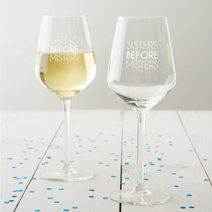 'Sisters Before Misters' Wine Glass - tableware