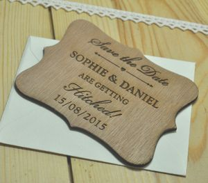Laser Cut Wooden Save The Date Hitched Magnet - invitations