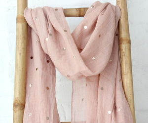 Pale Coral And Gold Spotted Scarf