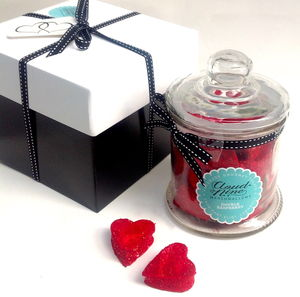 Double Raspberry Marshmallow Valentine's Day Hearts Jar - valentine's gifts for him