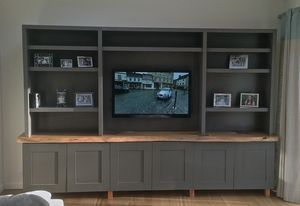 Painted Media Unit With Solid Oak Or Cedar Wood