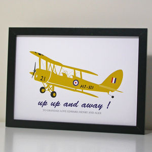 Personalised Tiger Moth Plane Print
