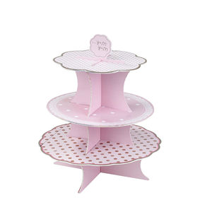 Pink Spotty Cake Stand - cake decorations