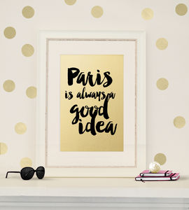 Valentines Art Print 'Paris' In Gold