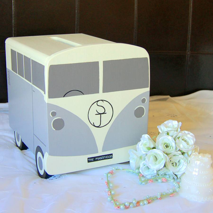 ... > LINDLEYWOOD > CAMPERVAN PERSONALISED WOODEN WEDDING POST BOX