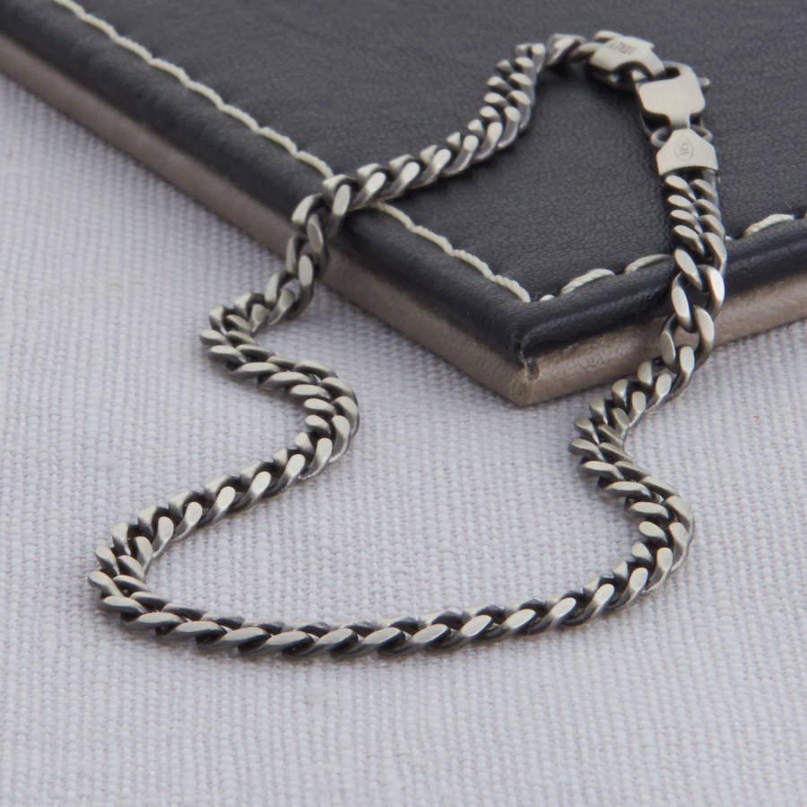 sterling silver mens curb chain necklace by hurleyburley