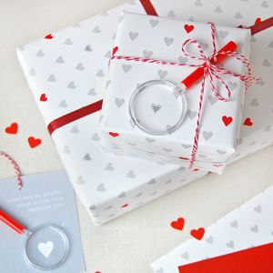 Mini Love Messages Wrapping Paper Set - ribbon & wrap