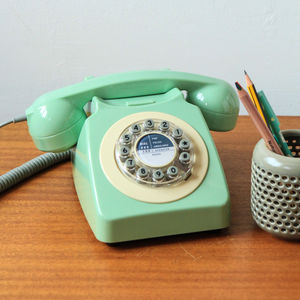 Retro Remake 746 Telephone In Swedish Green - office & study