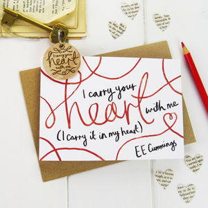 'I Carry Your Heart' Valentines Card