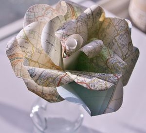 Map Book Paper Rose - flowers, plants & vases