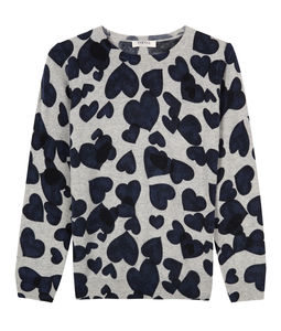 Heart Print Crew Neck Jumper