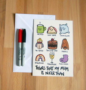 'My Mum Is Nicer Than..' Large Mothers Day Card - mother's day cards