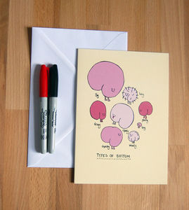 'Types Of Bottom' Large Greetings Card - cards & wrap