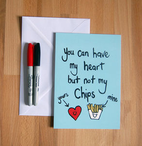 'Heart But Not Chips' Funny Greetings Card - wedding cards