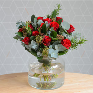 Luxury Dozen Red Rose And Herb Bouquet - fresh & alternative flowers