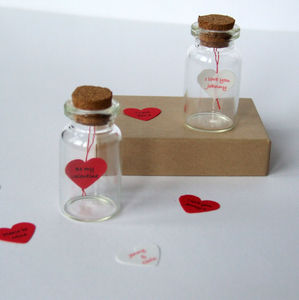 Tiny Love Heart Message In A Bottle - wedding cards