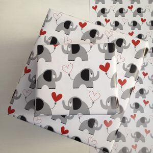 Heart And Elephant Wrapping Paper And Gift Wrap Set