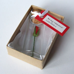Tiny Single Rose In A Bottle With Personalised Message - engagement cards