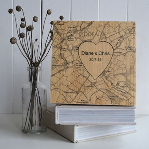 Personalised Heart Map Printed On Wood