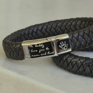 Personalised Men's Engraved Leather Bracelet