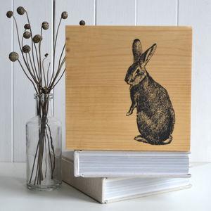 Rabbit Print On Timber