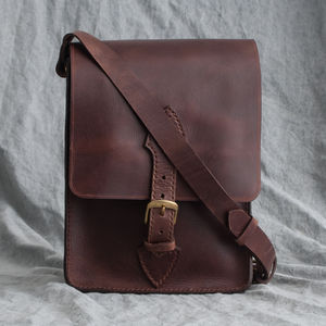 Hand Stitched Leather Messenger Bag - satchels
