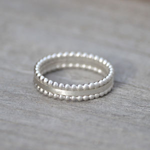 Stacking Rings Set Of Three In Solid Sterling Silver - rings