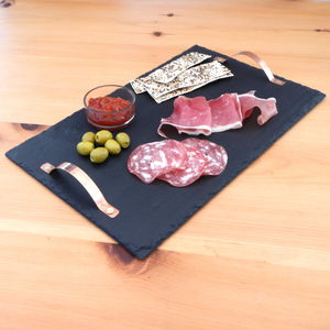 Natural Slate And Copper Tray