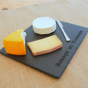 'Homage Au Fromage' Engraved Slate Board